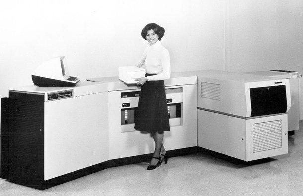 Una vieja impresora láser.